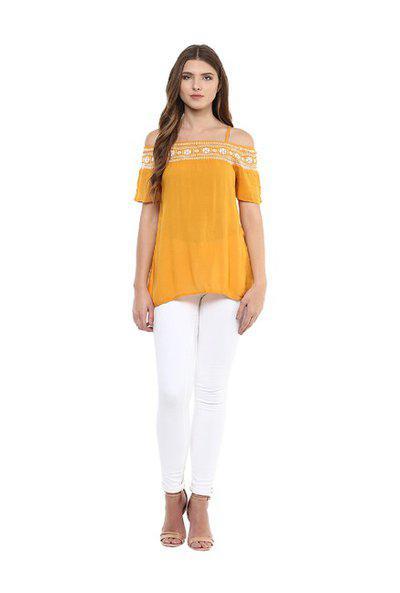 109 F Women Viscose Top Yellow XXL Size