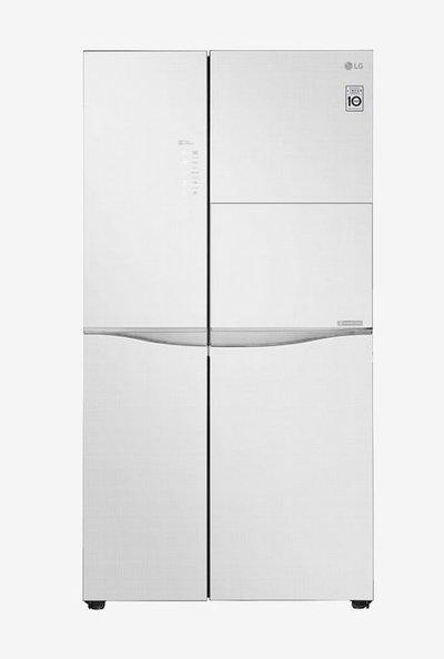LG 675L Inverter Frost Free Side By Side Refrigerator with Smart ThinQ (Linen White, GC-C247UGLW)