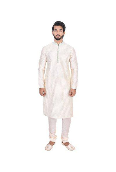 Manyavar Men's Blended Full Sleeve Regular Fit Textured Kurta Paired With Churidar And Design Nehru Jacket (beige, /42)