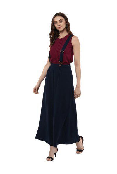 Bohobi Navy Regular Fit Maxi Dungaree Dress