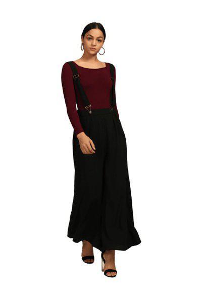Bohobi Black Regular Fit Maxi Dungaree Dress