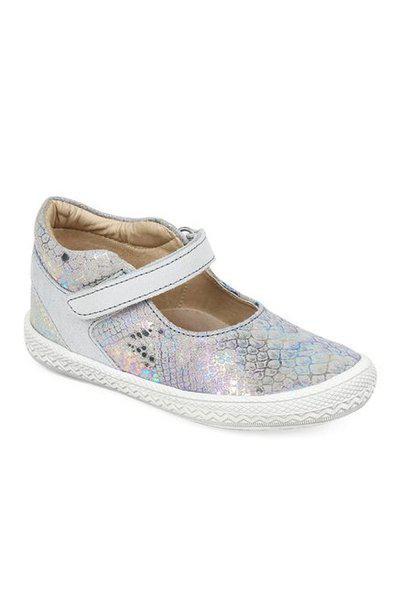 Beanz Girl's Glitter Grey/Beige Leather Mary Jane Flats-10 Kids UK/India (28 EU) (BZ-100318)