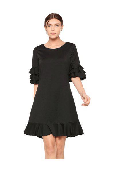 Allen Solly Women's A-line Knee-long Dress (ahcdmrgfh31809_black)