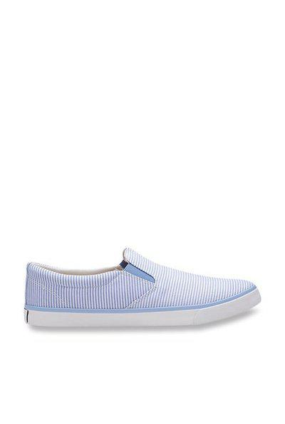 United Colors of Benetton Men Blue Striped Slip-On Sneakers