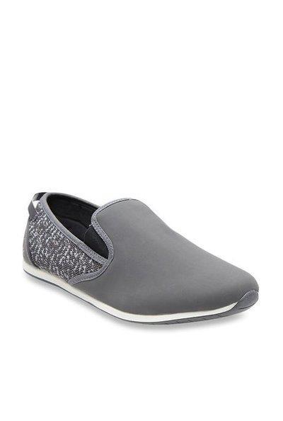 United Colors of Benetton Men Grey Woven Design Mid-Top Sneakers