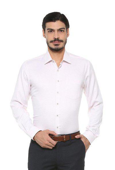 Van Heusen Baby Pink Printed Regular Fit Shirt