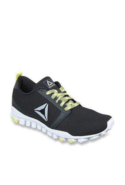 Reebok Realflex Runner Gravel & Highvis Green Running Shoes