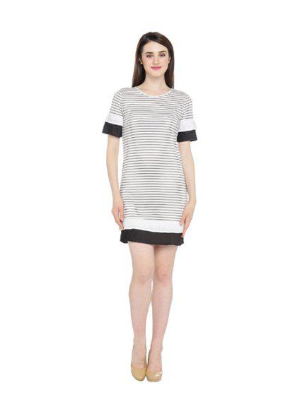 Annabelle by Pantaloons Black & White Striped Dress