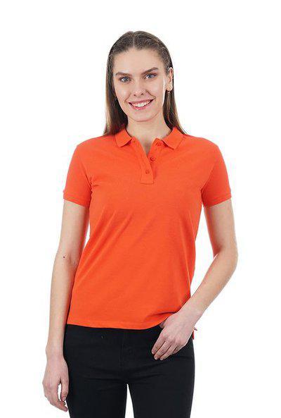 Pepe Jeans Women Solid Polo Neck T ShirtOrange