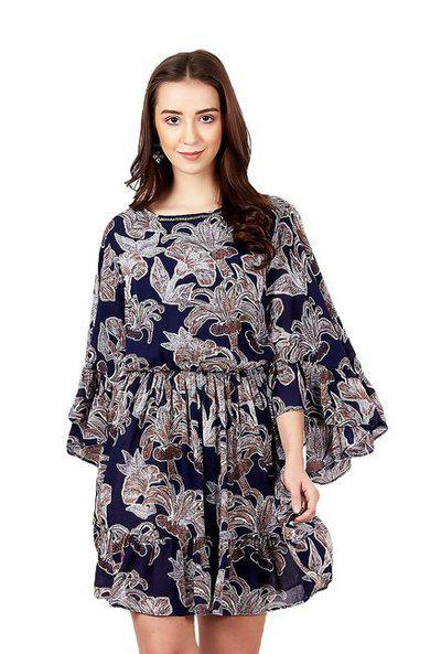 Label Ritu Kumar Rayon A-line Dress (sdrr-ggt00n19081803-navys_navy)