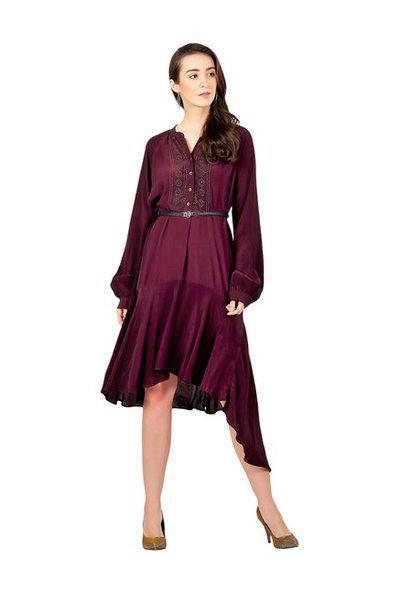 Label Ritu Kumar Purple Embellished Assymetric Dress