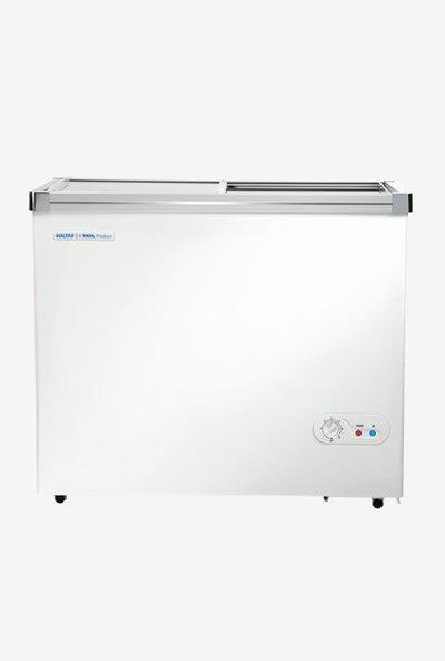 Voltas 405 L Glass Top Double Door Horizontal Deep Freezer (Classic White)