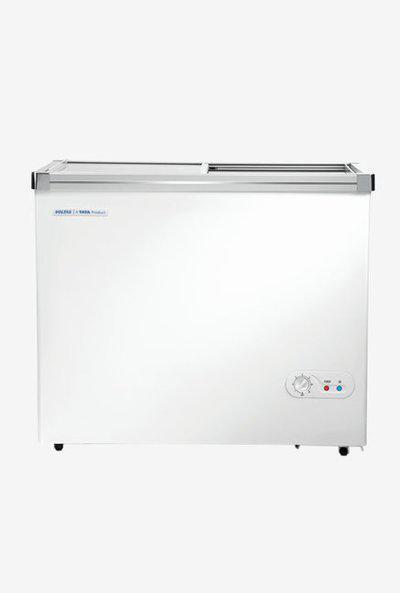 Voltas 205 L Glass Top Double Door Horizontal Deep Freezer (Classic White)
