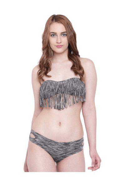 La Intimo Women Grey-melange & Black Striped Swim Bikini Set Lif2p008gy0