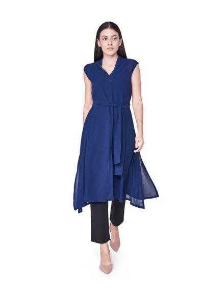 AND Navy Blue Solid Tunic