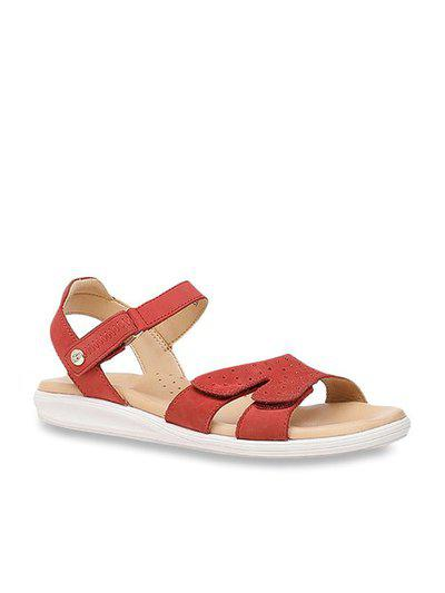 Hush Puppies By Bata New Bella Red Ankle Strap Sandals