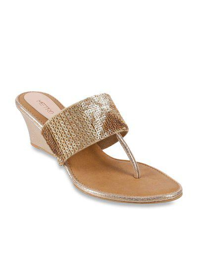 Metro Women Gold-Toned Embellished Open Toe Flats