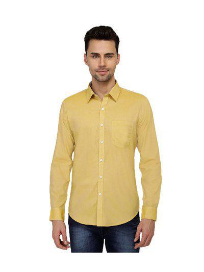 Provogue Mens Cotton Solid Citrus Shirt