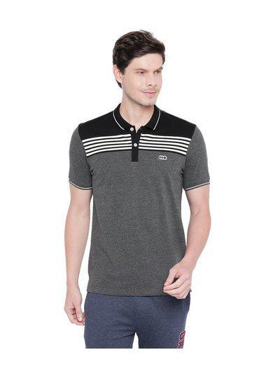 Ajile by Pantaloons Grey Textured Polo T-Shirt