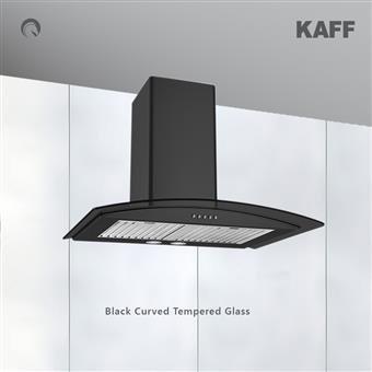 KAFF Flo BF 60 Cm Chimney Heavy Duty Baffle Filter Matt Black Rust Free Coating Black Curved Tempered Glass