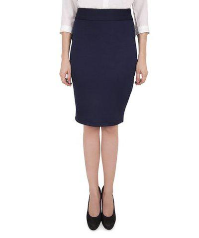 Cattleya Women's Poly Knit Casual Navy Navy Pencil Skirt